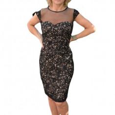 Rochie fashion din dantela neagra cu un design lucios aplicat, 42, 44, 46, Negru