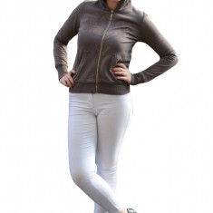 Bluza sport cu fermoar si gluga, culoare maro, buzunare aplicate, 36, 40