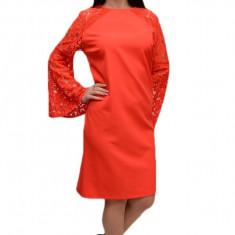 Rochie de ocazie in nuanta de corai, material elastic si dantela, 42, 44, 46
