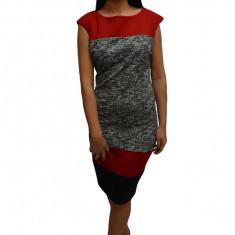 Rochie tinereasca cu design de dungi multicolore si croi cambrat, 42, 44, 46, Multicolor