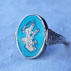 INEL argint SIAM cu 2 FETE rabatabil VECHI splendid RAR tehnica NIELLO superb
