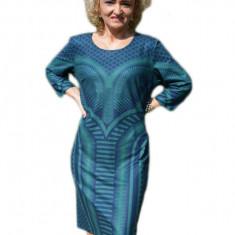 Rochie deosebita, de culoare bleumarin, imprimeu geometric, 44, 46, 48, 50