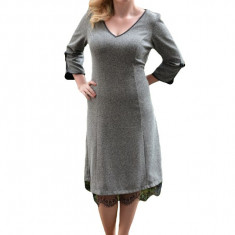 Rochie eleganta, nuanta de gri, fundite chic aplicate lateral, 42