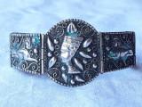 BRATARA argint NEFERTITI si simboluri EGIPTENE superba EGIPT 1900 rara SPLENDIDA