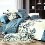 Lenjerie de pat bumbac 100%,  4 piese cu motive florale din epoca renasterii, 230x250 cm