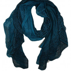 Esarfa calduroasa cu aspect tricotat, culoare turcoaz cu fir lucios