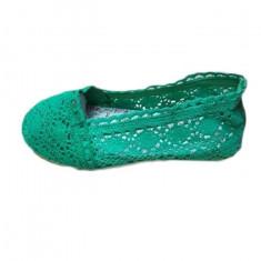 Balerin casual, modern, din material tip dantela de nuanta verde, 39, 40