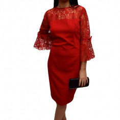 Rochie feminina cu insertii dantela eleganta, de culoare rosie, 42, 44, 46, Rosu