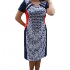 Rochie midi de primavara cu croi drept, nuanta bleumarin-alb-rosu, 44, 46, 48, 50