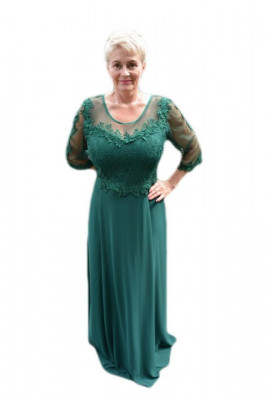 Rochie lunga de seara din voal si dantela, culoare verde foto