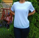 Bluza tinereasca, de culoare alba, cu banda elastica la sold, 40, 42, 44, 46, 48, 50, Alb
