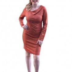 Rochie rafinata cu fir auriu in tesatura, de nuanta portocalie, Orange, 38, 40, 42, 44