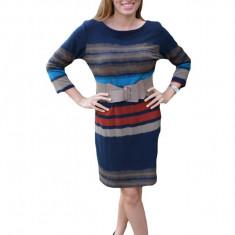 Rochie de zi, moderna, design cu dungi orizontale, nuanta de bleumarin, 40, 42, 44