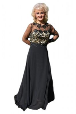 Rochie lunga de seara cu broderie florala 3D, culoare neagra foto