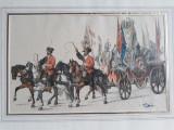 GRAVURA VECHE- TEMA MILITARA MEDIEVALA, Scene lupta, Carbune, Realism