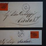 2 Fragmente Scrisoare Statele Romane (Italia) - 1868 & 1870