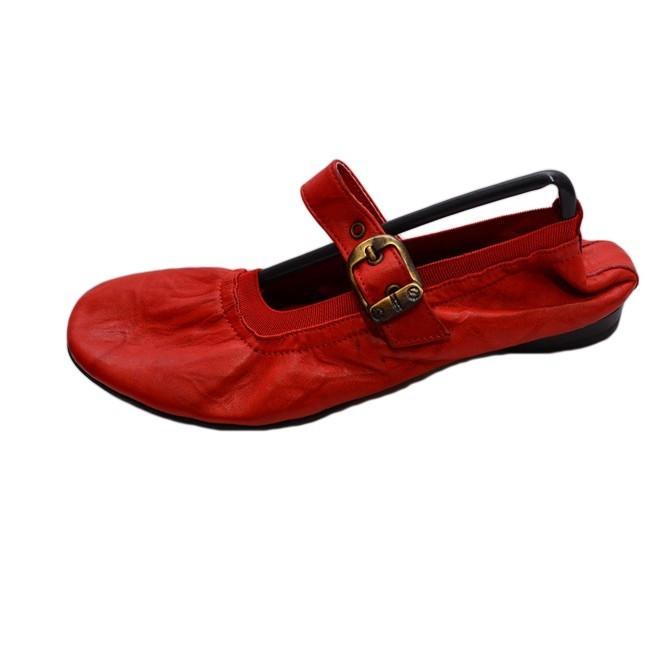 Balerin rosu, piele cu aspect mat, cu o bareta peste picior