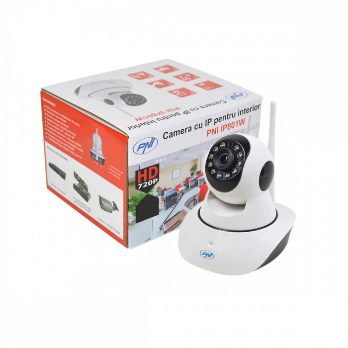 Resigilat : Camera supraveghere video PNI IP801W 720P cu IP P2P PTZ wireless, slot