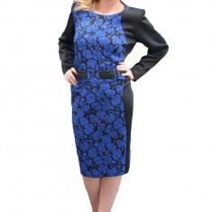 Rochie cu maneca lunga, neagra cu model de flori bleumarin, Negru, 44, 46, 48, 50