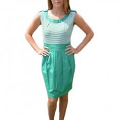 Rochie tinereasca cu imprimeu de dungi alb-verde deschis, 40, 42
