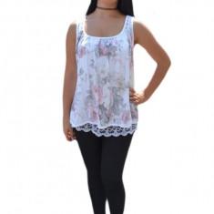 Bluza de dama de culoare alba cu flori colorate si dantela, 36, 38, 40, 42, 44, 46, 48, Alb