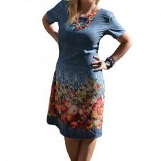 Rochie casual cu imprimeu tineresc multicolor si maneca scurta, 42, 44, 46, 48