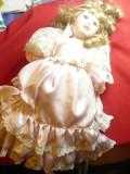 Papusa colectie -Mireasa - roz si tul alb-cap, maini ,picioare- portelan ,h=40cm