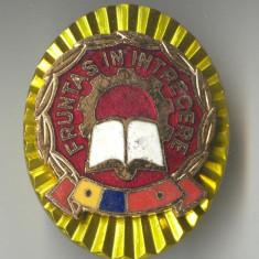 Fruntas in intrecere clasa a 1a -  Insigna  RSR 1980 - CEAUSESCU