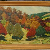 Mertic 1978 Peisaj de vara pictura in ulei 40x50cm, Peisaje, Realism