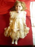 Papusa colectie -Mireasa -cap, maini ,picioare- portelan satin ,dantela ,h=40cm