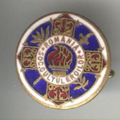 Insigna veche, cultura - militara - SOCIETATEA CULTUL EROILOR 1930 Regele Carol