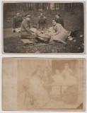 Foto  jandarmi la iarba verde + militari  carte postala inainte de 1918