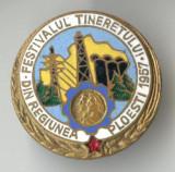 FESTIVALUL TINERETULUI REGIUNEA PLOIESTI  - RPR  1957 -  Insigna SUPERBA