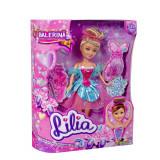 Papusa Colectia Lilia - Balerina cu rochita turcoaz si roz