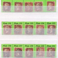143-ANGLIA MAREA BRITANIE 1854 VICTORIA PENNY RED 24 timbre Plates 180-205, Stampilat