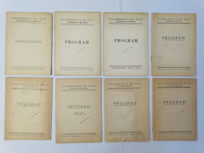 Filarmonica de Stat George Enescu Program 1959 - 1963 colectie 8 programe