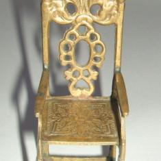 Scaun miniatura din alama pentru BRIT MILAH, Steaua lui David, Judaica vintage