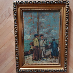 Tablou ulei pe carton semnat Tibor Erno., Marine, Impresionism