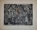 """ELVIRA MICOS """"PETRU AL II-LEA"""", XILOGRAVURA, 40cm. X 52cm."""