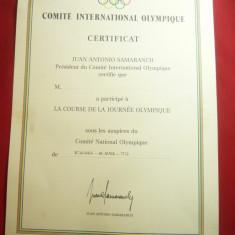 Diploma Certificat acordat de J.A.Samaranch pt. participare la Ziua Olimpica1988
