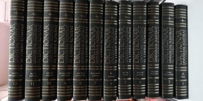 DICTIONAR UNIVERSAL ILUSTRAT AL LIMBII ROMANE - 12 VOLUME - Editura Litera