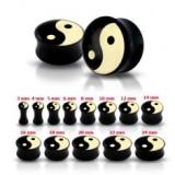 Plug pentru ureche, negru, lucios, cu simbolul Yin-Yang