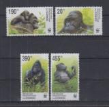 Congo 2002 - Fauna WWF, gorile, serie neuzata