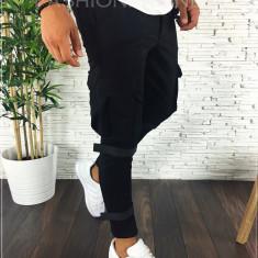 Pantaloni de trening negri cu buzunare laterale - LICHIDARE - A2315, Din imagine