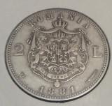 2 lei 1881 Romania, argint