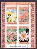 Tanzania 1986 - flori, bloc cu eroare dantelare