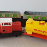 Jucarie veche colectie, tren trenulet locomotiva vagoane, tabla plastic, RDG DDR