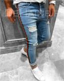 Blugi barbati albastri rupturi conici - COLECTIE NOUA  - A2273 D4-2, 31, 32, Din imagine, Slim Fit