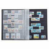 Clasor timbre cu 8 file / 16 pagini negre, albastru