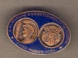 Insigna A XIa Reun. a Colect. de Insigne Tg. Mures 1985 albastru